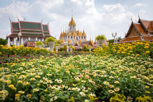 Spoed Foto op Canvas Bangkok Loha Prasat Matal Palace,public outdoor flower garden in Wat Ratchanaddaram Worawihan temple is one of the best known landmarks in Bangkok,Thailand