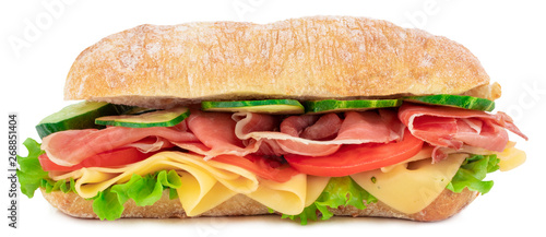 Garden Poster Snack Ciabatta sandwich with lettuce, tomatoes prosciutto and cheese isolated on white background