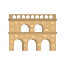 Roman Aqueduct Color Vector Icon. Flat Design