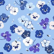 Monotone Blue Seamless Pattern...
