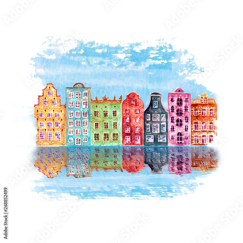 Photo  Old city illustration with watercolor hand drawn old european houses and reflections in the water