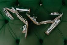 Modern Silver Wedding Shoes On Green Velvet