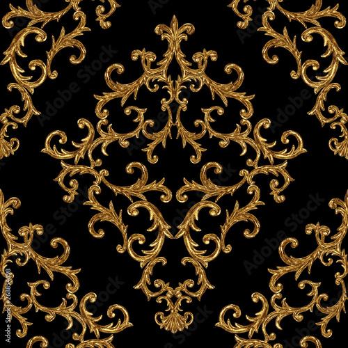 Cuadros en Lienzo Baroque golden elements ornamental seamless pattern