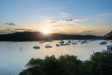 Sun Setting On Harbour In Sydney