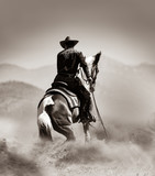 kowboj na koniu w pustyni - 268856882