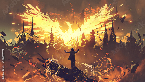 Photo wizard summoning the phoenix from hell, digital art style, illustration painting