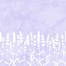 Lavender Flowers White Silhouettes Seamless Pattern On Purple Watercolor Background.
