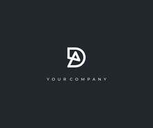 DA D A Letter Minimalist Logo Design Template