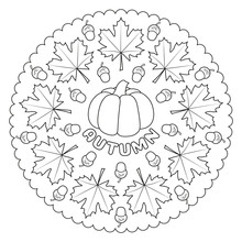 Coloring Page Mandala For Kids With AUTUMN Maple Leaves, Pumpkin And Acorns. Learning Colors. Vector Illustration.