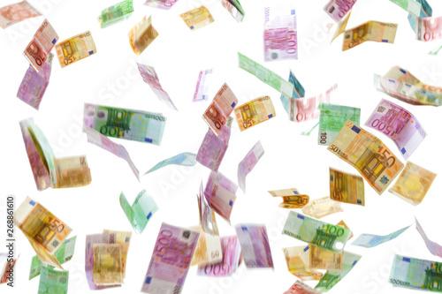 Cuadros en Lienzo Money rain of Euro banknotes isolated on white background.