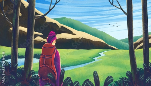 Gris traffic illustration of travel adventure in forest with modern colorful style