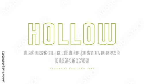 Obraz na płótnie Stock vector hollow sans serif font
