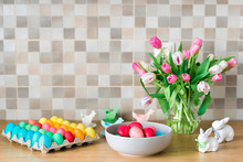 Colorful Easter Eggs On Kitchen Counter