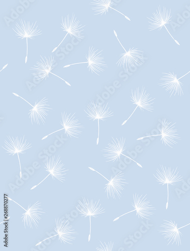 Foto-Schmutzfangmatte - Lovely Hand Drawn Flying Dandelion Seeds Vector Pattern. Delicate Pastel Color Repeatable Design. White Flying Dandelion Seeds Isolated on a Blue Background. Bright Abstract Garden. (von Magdalena)