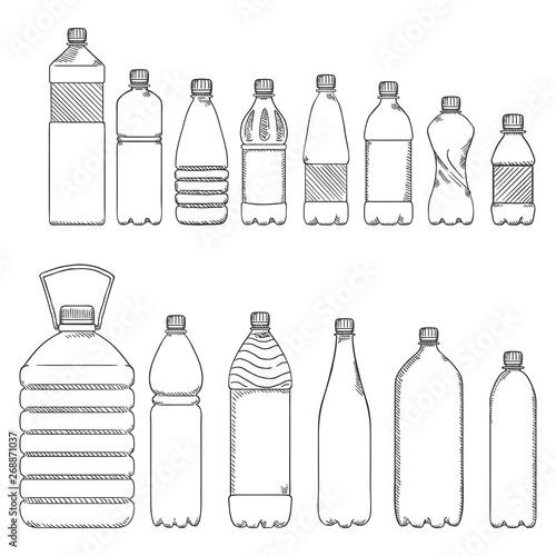 Fotografie, Obraz  Vector Sketch Set of Plastic Bottles