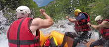 People In Boat Enjoy On Whitewater Rafting Trip On Tara River In Montenegro
