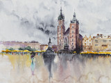 The main square of the Old Town in Krakow, Poland watercolors painted. Krakow is the second largest and one of the oldest cities in Poland. - 268872263