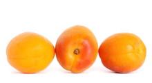 Fresh Apricot Fruit Isolated On White Background