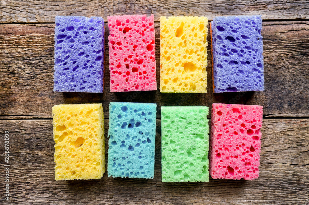 Fototapeta Kitchen cleaning sponge background