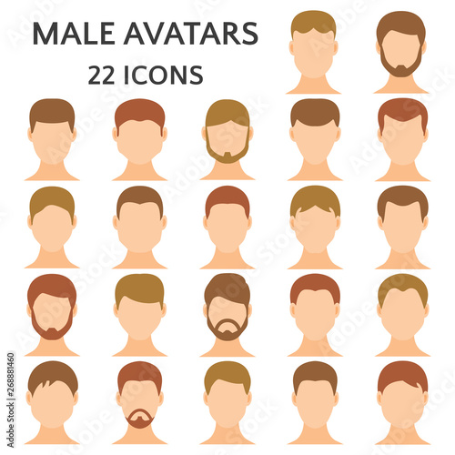 Fotografija  Male avatars icon set