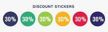 30% Off Sale Discount Sticker. Round Promotion Sale Set. Offer 30 Percent  Price Vector Illustration.