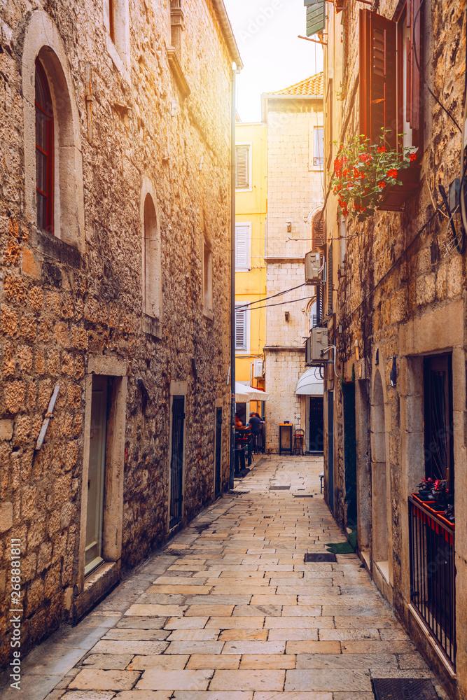 Fototapety, obrazy: Street in Split historical center, Croatia. Beautiful square of the old town of Split in Croatia. Old stone street of Split historic city, Dalmatia, Croatia