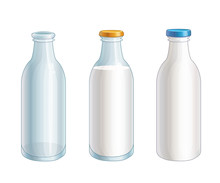Set Of Vector Cartoon Glass And Plastic Milk, Empty Bottles Isolated