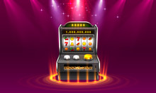 3d Slots Machine Wins The Jackpot, Isolated On Glowing Lamp Background.
