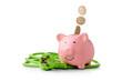 canvas print picture - Energie Kosten - Strom sparen ist gut für den Klimaschutz und spart Geld. Euro Münzen fallen in das Sparschwein. Neben dem Sparschwein Liegt ein grünes Stromkabel mit Stecker