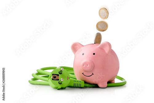 Fototapeta Energie Kosten - Strom sparen ist gut für den Klimaschutz und spart Geld. Euro Münzen fallen in das Sparschwein. Neben dem Sparschwein Liegt ein grünes Stromkabel mit Stecker obraz