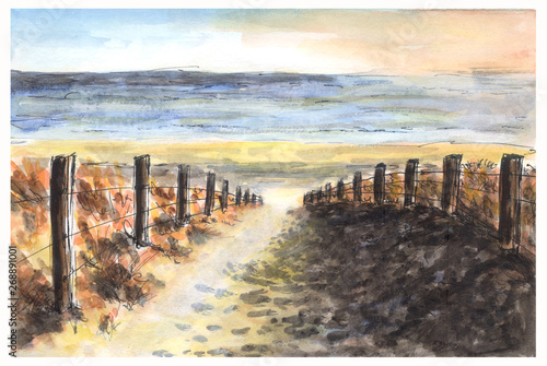 Foto auf AluDibond Grau watercolor hand-painted beach and dune with copy space