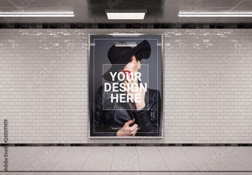 Vertical Subway Billboard Mockup  Buy this stock template