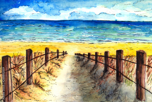 Autocollant pour porte Jaune de seuffre watercolor hand-painted beach and dune with copy space
