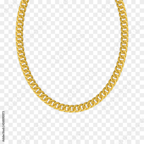 Photo Gold chain isolated. Vector necklace