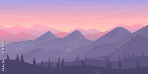 Tuinposter Lavendel Vector minimalistic landscape. Mountains and woods. Polygon concept. flat style Abstract background. Panoramic wallpapers