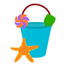 Beach Bucket Vector Icon On A White Background. Bucket With Starfish Illustration Isolated On White. Small Bucket With Shovel Realistic Style Design, Designed For Web And App. Eps 10.