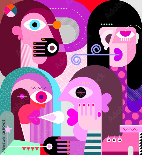 Fotoposter Abstractie Art Four Persons graphicr illustration