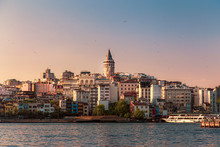Galata Tower View During Sunset And Beautiful Colors