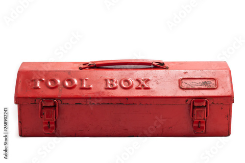 Obraz Red tool box on white background - fototapety do salonu