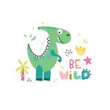 Fototapeta Dinusie - Funny dinosaur background for kids