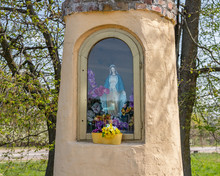 Wayside Shrine With Holy Mary ...