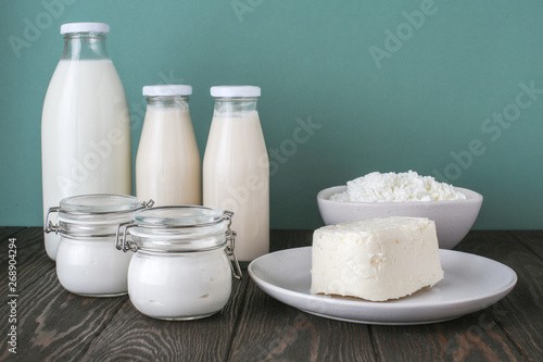Fotobehang Zuivelproducten dairy products, farm products, milk, yogurt, cottage cheese, butter