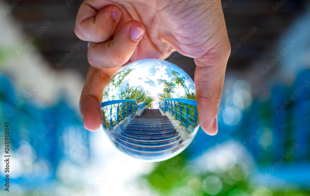 Fototapety, obrazy: Blue stairs through the lensball