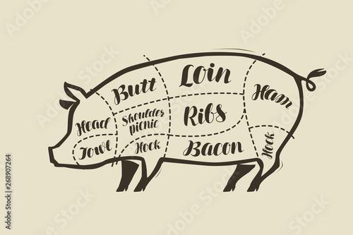 Obraz na plátne Pig meat cutting