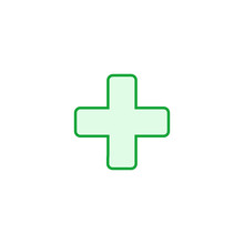 Green Cross Hospital Medical Vector Logo, Sign Or Symbol. Vector Illustration Isolated On White Background