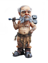 Portrait Of A Cute Mighty Dwarf Standing With A War Hammer On An Isolated White Background. 3d Rendering
