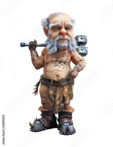 Portrait of a cute mighty dwarf standing with a war hammer on an isolated white background Canvas Print