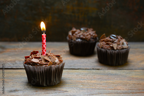 chocolate cupcakes with a b...