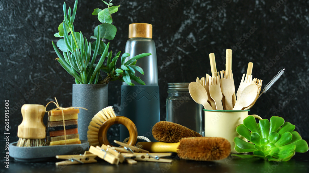 Fototapety, obrazy: Zero-waste, plastic-free kitchen and household with coconut fiber, bamboo and reusable products for eco-friendly lifestyle.