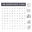 Assisstance line icons, signs, vector set, outline concept illustration
